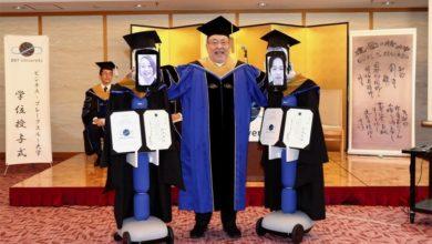 Photo of روبوتات تمثل الطلاب في حفل تخرج لجامعة بي بي تي اليابانية